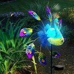 JackRuler Dekoration Garten Gartendekoration Schmiedeeisen gemalt Pfau Solar Light Windmühle 32 x 102 cm