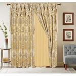 Jacquard-Fenstervorhang, 160 cm lang, mit Volant-Schal + durchsichtige Rückseite + 2 Quasten, traditioneller 160 cm Blumen-Vorhang für Wohn-/Esszimmer, Stangentasche (Elisa, 63, Gold)