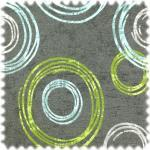 Jacquard Flachgewebe Möbelstoff Circle Anthrazit / Türkis / Grün