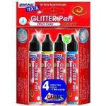 Javana Stoffmalfarben Glitter Set 4 x 25 ml für helle und dunkle Stoffe, Glitter Pen - Kreul