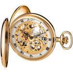 JEAN JACOT Taschenuhr – Zeitloses Accessoire für KULTIVIERTE Herren – Vergoldetes, poliertes Gehäuse mit Doppelscharnier – Inklusive Kette (Gehäuse-Ø 53 x 16 mm) – C335324 (Gold)