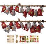 JEEZAO Adventskalender,1-24 Countdown Weihnachten Geschenksäckchen,DIY Stoffsäckchen zum Selberfüllen,Jutesack (Stil 1)