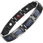 Jeracol Magnetarmband Magnetische Herren-Armband aus Schwarzen Titan mit blauen Carbon Fiber Herren Magnetische Armbänder für Arthritis Verschluss Armband Magnet Herren Gesundheit (3500 gauss)