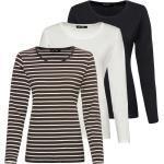JETTE Langarmshirt »Langarm-Shirt, 3er-Pack«, Braun/Weiß