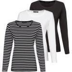 JETTE Langarmshirt »Langarm-Shirt, 3er-Pack«, weiß, Weiß/Schwarz