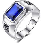 Silberne Saphir Ringe handgemacht zum Jubiläum Größe 68