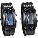JewelryWe 2pcs Paar Uhren Digitaluhr Schwarz Edelstahl Binäre Uhr Rechteck Bezel LED Sportuhr Blau LED Licht Kalender Mode Cool Partner Armbanduhr für Herren Damen