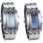 JewelryWe 2pcs Paar Uhren Digitaluhr Silber Edelstahl Binäre Uhr Rechteck Bezel LED Sportuhr Blau LED Licht Kalender Mode Cool Partner Armbanduhr für Herren Damen