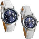 JewelryWe Damen Herren Armbanduhr, Kalender analog Quarz Uhr, mit Digital Blau Zifferblatt partneruhren, Leder, Legierung, Lieben, Weiss