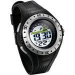 JewelryWe Herren Armbanduhr Sportuhr, 30M Wasserdicht Multifunktions Mode Digital Uhr mit LED Licht/Alarm Stoppuhr/Kalender Datum und Tag, Schwarz Silber
