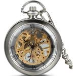 JewelryWe Herren Taschenuhr Transparent römische Ziffern Zifferblatt Handaufzug mechanische Kettenuhr Skelett Uhr mit Halskette Kette Umhängeuhr Silber