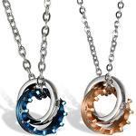 JewelryWe Schmuck 2 Freundschaftsketten Krone Ring Edelstahl Partner Anhänger mit 45cm und 54cm Kette, Halskette für Damen & Herren, Gold Schwarz Silber, kostenlos Gravur