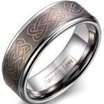 Silberne JewelryWE Keltische Ringe gebürstet graviert