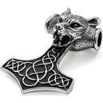 JewelryWe Schmuck Edelstahl Wolf Kopf Thors Hammer Dreiecksknoten Trinity Keltisch Knoten Herren-Anhänger mit 55cm Kette, Biker Halskette, Schwarz Silber