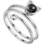 Jewmon Katze Offener Ring Mood Stone Wrap Ring Katze mit schwarzem Spinell Edelsteinring 925 Sterling Silber Verstellbare Süße Katze Ring Schmuck für Frauen FR0023K