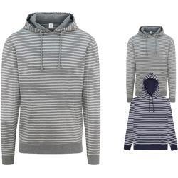 Marineblaue Gestreifte Maritime Just Hoods Damenpullover mit Kapuze