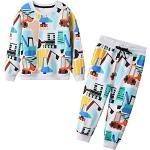JinBei Junge Trainingsanzug Set für Kinder Jungen Bagger Drucken Jogginganzug Pullover und Hosen Anzug Baumwolle Sportanzug Herbst Winter Alter Blau Rot 6-7 Jahre