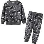 JinBei Trainingsanzug Set für Kinder Jungen Dinosaurier Drucken Dunkel Grau Jogginganzug Pullover und Hosen Anzug Baumwolle Sportanzug Herbst Winter Alter 6-7 Jahre