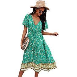 Grüne Bohemian Maxi V-Ausschnitt Strandkleider & Strandtuniken für Damen