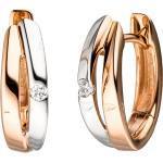 JOBO Paar Creolen, 585 Roségold bicolor mit 2 Diamanten