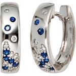 JOBO Paar Creolen, 585 Weißgold mit 18 Diamanten und Safir