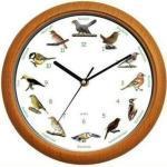JOKA international Wanduhr »Wanduhr Vogelstimmenuhr mit Vogelstimmen mit braunen Rahmen«