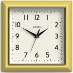 Jones Clocks® Mustard Quadratische Retro Wanduhr Modern Farbdesign Perfekt als Küchenuhr, Wohnzimmer Wanduhr oder Büro Uhr mit Leicht ablesbaren Zahlen 25cm (Freches Gelb)