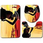 JOOCAR 3-teiliges Set rutschfester WC-Vorleger + WC-Deckelbezug + Badematte, afrikanische schwarze Frauen-Tradition Leben, weich und schön, Heimdekor Badvorleger