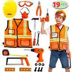 JOYIN Bauarbeiter Kostüm Rollenspiel Werkzeug Spielzeug Set für 3-6 Jahre Kinder, tolles pädagogisches Spielzeuggeschenk für Halloween Party, Karneval, Weihnachten und Geburtstag