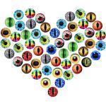 Julie Wang 12MM 60PCS Drachenaugen Glas Cabochon Augen für Tonpuppenherstellung Skulpturen Requisiten Basteln DIY Fundstücke Schmuckherstellung