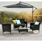 Juskys Polyrattan Gartenmöbel-Set Fort Myers– Sitzgruppe mit Tisch, Sofa & 2 Stühlen - Balkonmöbel für 4 Personen - schwarz mit grauen Auflagen