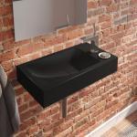 Kaldewei Cono Handwaschbecken B: 55 T: 30 cm, Becken links schwarz, mit 1 Hahnloch 908006013701