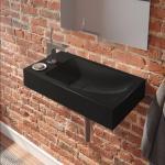 Kaldewei Cono Handwaschbecken B: 55 T: 30 cm, Becken rechts schwarz, mit 1 Hahnloch 908006393701