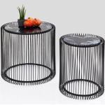 KARE DESIGN Beistelltisch Wire Marble Black 2er Set Glas Schwarz, Weiß