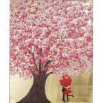 Kare-Design BILD , Mehrfarbig, Rosa, Gold , Tanne , massiv , rechteckig , 80x100x3.5 cm , handgemalt , Bilder, Gerahmte Bilder