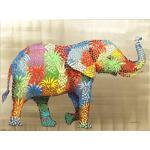Kare Design Bild Touched Flower Elefant, XXL Leinwandbild auf Keilrahmen, Wanddekoration mit Elefanten, bunt (H/B/T) 90x120x4cm