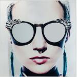 KARE DESIGN Glasbild Metallic Girlie 120x120cm Glas Weiß 120 x cm