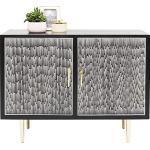 Kare Design Kommode Piano, zierliche Kommode mit 2 Türen in schwarz-weiß mit messingfarbenen Füßen, Sideboard im Retro Chic (H/B/T) 90x114x48cm