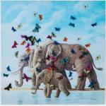 KARE DESIGN Wandbild 120 x cm Elefants with Butterflys Holz, Textil, Natur