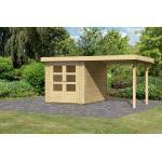 "Karibu   Gartenhaus ""Askola 2"" SET AKTION   naturbelassen   mit Schleppdach 2,4 m"