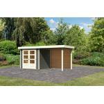 "Karibu | Gartenhaus ""Askola 2"" SET AKTION | terragrau | mit Schleppdach 2,4 m | Rückwand"