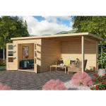 KARIBU Gartenhaus Wacken 3 28 mm naturbelassen inkl. 3 m Anbau + Rückwand