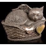 Katzen Urne - Katzenengel im Korb mit Gravurplatte - Tierurne