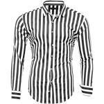Schwarze Langärmelige Casual Stehkragen Streifenhemden mit Knopf zum Oktoberfest für Herren Übergrößen Große Größen für den Herbst
