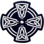Keltisches Kreuz Kreis Patch bestickt Applikation Bügelbild Aufbügler Aufnähen Emblem Weiß & Schwarz