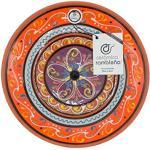 Keramik Ramible   Deko-Teller zum Aufhängen an der Wand   Teller aus Keramik   Mediterrane Dekorationsteller orange-weiß-violett   100% handgefertigt   28 x 28 x 4,5 cm