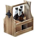 Kesper Flaschenträger hols Flaschenträger für 6 flaschen Flaschenkorb Paulowniaholz B 25 x H 29 x T 17 cm