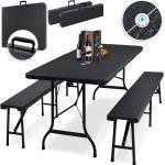 KESSER Bierzeltgarnitur, 3-teilig Set Tisch + 2 x Bank für drinnen und draußen klappbar Tragegriffe HxBxT: 73x180x75 cm Kunststoff Rattan-Look Gartengarnitur Klapptisch Gartentisch K-BZG1088