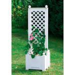 KHW Spalier, mit beidseitigem Pflanzkasten, BxTxH: 43x43x140 cm weiß Spaliere Gartendekoration Gartenmöbel Gartendeko Spalier