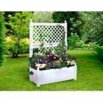 KHW Spalier, mit Pflanzkasten, BxTxH: 100x43x140 cm weiß Spaliere Gartendekoration Gartenmöbel Gartendeko Spalier